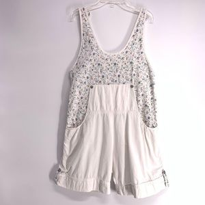 Vintage Overalls Shortalls White Floral size small